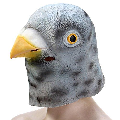 Fjiujin,Latex Pigeon Head Masken für Kostümkugeln bei Halloween Cosmetic Ball Party(Color:GRAU)