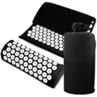 E. life - Juego de alfombrilla y almohada de plástico ABS para relajación, tensión, rigidez, yoga y meditación con bolsa de transporte de algodón ecológico