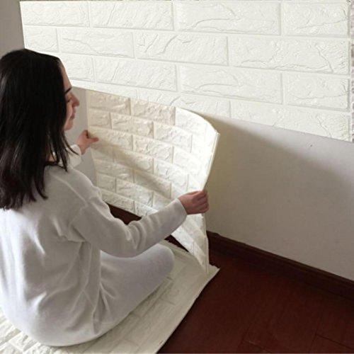 Huhu833 Neue PE Schaum 3D Wallpaper DIY Wandaufkleber Dekor Embossed Backstein Wandaufkleber Wandtattoo 60 X 60 X 0.8cm (Weiß)
