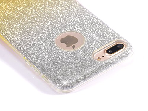 iPhone 7 Plus 2016 Hülle,iPhone 7 Plus 2016 Bling Hülle,JAWSEU Luxus Rose Glitter Strass Glänzend Diamant Rückseite Hart Hülle Case PC Bling Schutz Etui Tasche Schale Cover für iPhone 7 Plus 5.5 Zoll+ Gradient Gold