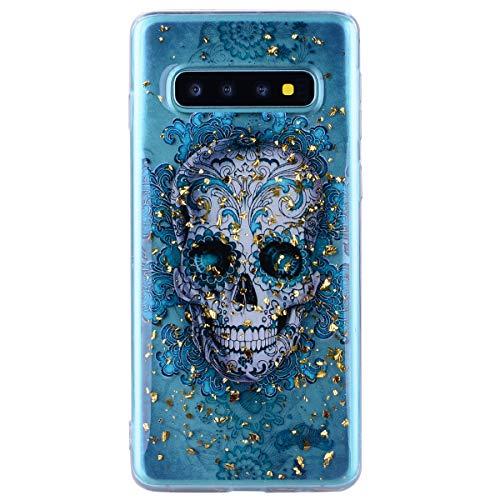 Shinyzone Glänzend Handy Hülle für Samsung Galaxy S10 Plus mit 3D Cartoon Muster Gold Flüssigkeit,Weiche Transparente Silikon Bumper Schutzhülle Durchsichtig Rückseite(Shantou)