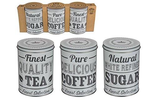 Vorratsdosen Blechdosen Kaffeedose nostalgisches vintage Design Kaffee Zucker Tee 3 Stück
