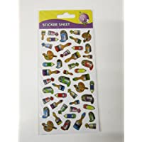 Purple peach sticker sheet - paints artists painting and brushes