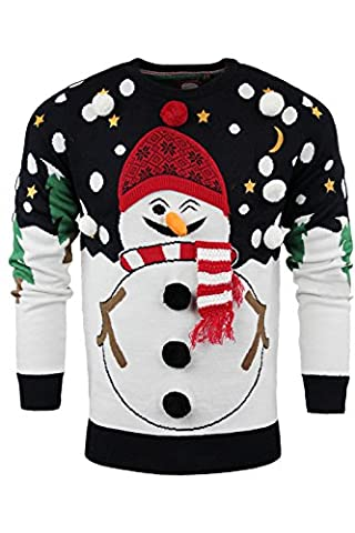 Mens Christmas Xmas Jumper Sweater Pullover Santa Snowman Festive Sizes S-XL