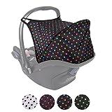 BAMBINIWELT Sonnenverdeck UV50+ für Maxi-Cosi Cabriofix, Sonnendach Babyschale, Autositz PUNKTE (schwarz - bunte Punkte)