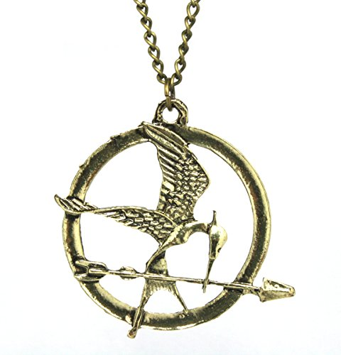 2LIVEfor Kette Hunger Games Antik Gold Spotttölpel mit Pfeil Halskette mit Anhänger Vintage Vogel mit Flügel