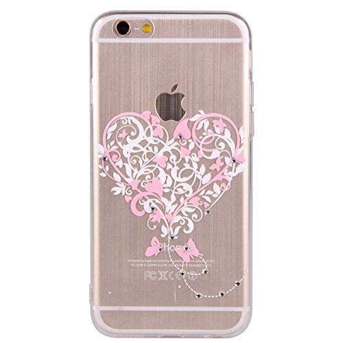 Etche Housse Etui pour iPhone 6 Plus/6S Plus 5.5 pouces,Soft Silicone TPU Coque Cover pour iPhone 6 Plus/6S Plus 5.5 pouces,Etui de Protection Cas en caoutchouc en Ultra Slim Souple Clair Gel Bumper L coeur d'amour rose