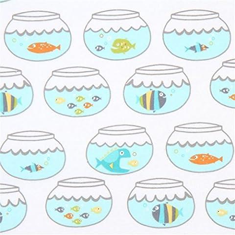 Tissu en flanelle Michael Miller blanc avec des bocaux à poissons multicolores
