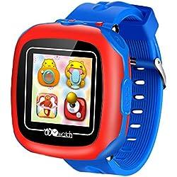 """Niños Relojes Inteligentes con Juegos,1.5"""" Touch Niños Rastreador Podómetro Reloj de Cuenta de Pasos Temporizador Digital de Salud Regalos de Cumpleaños al Aire Libre para Niño Niña (Blue-W8)"""