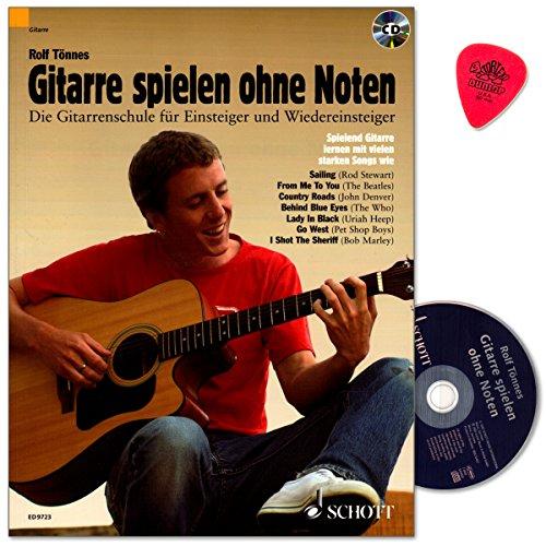 Gitarre spielen ohne Noten - neue Gitarrenschule für Einsteiger und Wiedereinsteiger von Rolf Tönnes mit CD und Dunlop Plek -
