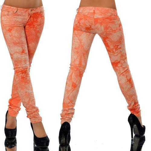 G227 Damen Jeans Hose Hüfthose Damenjeans Hüftjeans Röhrenjeans Röhrenhose Orange
