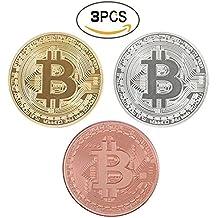 Set di 3 Bitcoin Challenge Coin Classic Collector's Set | L'esclusiva edizione limitata in oro e argento placcato e puro rame rosso fatto gettoni commemorativi con una vetrina in plastica