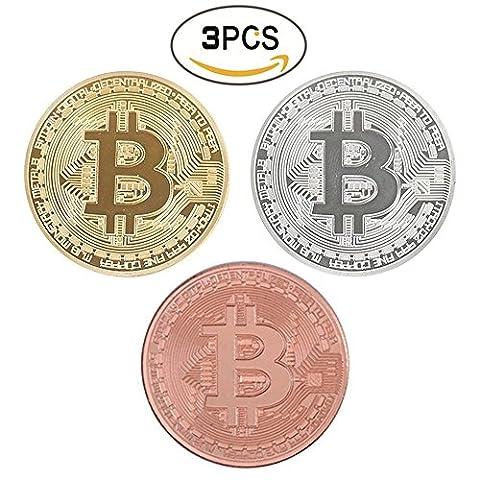 3Pcs Bitcoin pièce de monnaie classique Collector's Lot | l'édition limitée Original Doré et Argenté et rouge en cuivre plaqué commémorative de jetons par Lzwin | chaque pièce de monnaie est livré W/d'un écran rond Plastique Coque