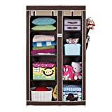 FOLDDON Foldable wardrobe with 8 Racks, Standard Size(Beige and Brown)