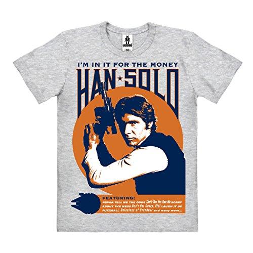 Star Wars - Han Solo - I'm In It For The Money T-Shirt Organic Herren - Bio Baumwolle - organic cotton - grau-meliert - Lizenziertes Originaldesign - LOGOSHIRT, Größe (Shirt Han Kostüme Solo)