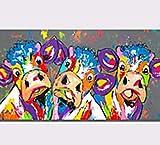ZXJYH Reine Handgemalte Abstrakte Niedliche Tier Rinder Muster Öl Malerei Sofa Im Wohnzimmer An Der Wand Malen Rahmenlose Home Decoration Wandmalerei, 70 X 140 cm
