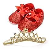 QinMM Chaussures de Bébé Ballerines + Couronne Brillant Princesse Paillettes Nœud Papillon Lacet, Fille Doux Sweet Mode Tout-Petit Toddler Anti-Dérapante Flip-Flop Soirée Premiers