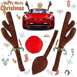 Color Rojo dise/ño de Cuernos de Reno Disfraz de Cuerno de Navidad para Coche Yiwa