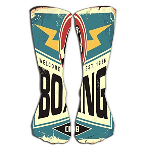 Xunulyn Hohe Socken Outdoor Sports Men Women High Socks Stocking Boxing Club Retro tin Sign Template Design Boxing Club Retro tin Sign Template Design Sport Recreation Poster Tile Length 19.7