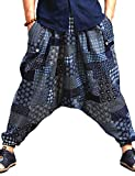 Idopy Pantaloni Harem Yoga Baggy Hippie Yoga Tradizionale Cinese (Blu)