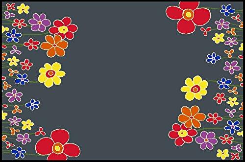Fußmatte, Schmutzfangmatte 90 x 60 cm, wash + dry, Blumenwiese dkl. grau