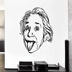 Vinyle Applique Einstein Portrait Grand Scientifique Physicien Autocollant Mural De Mode Mignon, garçon Chambre Bureau Zone Art Déco Gris 57x69cm