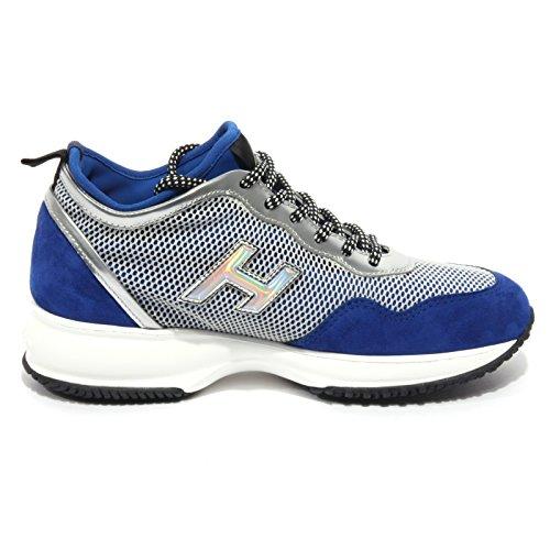 B1688 sneaker donna HOGAN INTERACTIVE LYCRA blu/argento scarpa shoe woman Blu/Argento/Nero