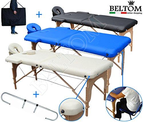 Lettino per massaggi 2 zone in legno + portarotolo + pesa solo 12,8 kg richiudibile + pannello reiki + angoli arrotondati e rinforzati - lettini da massaggio portatile - estetica fisioterapia fisioterapista tattoo tatuaggi - nuovo - panna