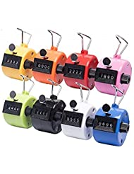 Tebery Pack of 8 Color Hand Tally Counter 4 Digit Mechanical Palm Click Counter Count Clicker Assorted Color Hand Held Counter Clicker for Sport/Stadium/Coach and Other Event