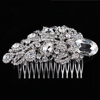 Zormey vintage fête de mariage mariée Demoiselle d'honneur Cristal Rond Feuille gratuit de mariée Peigne à cheveux pour femme