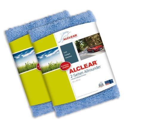 2er Set ALCLEAR Poliertücher 2-Seiten-Allrounder Premium ohne Hologramme, f. Auto Yachting & Poliermaschine, 40x40 cm blau