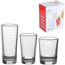 Cavendish Trading potable cristalería Set con vaso de tubo/tamaño mediano y vasos, cristal, diseño de espirales, 18piezas