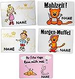2 Stück _ Unterlagen -  lustige Motive  - incl. Name - 44 cm * 29 cm - Platzset & Tischset - abwischbar / Tischunterlage - Platzdeckchen / Malunterlage / Kn..