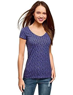 oodji Collection Mujer Camiseta con Estampado y Cuello Pico