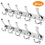 Whitgo Wall Mount Coat Hook, 2 Pack 15 Hooks Stainless Steel Wall Coat Hangers Rack Durable Robe Hat Clothes Hooks