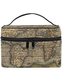 COOSUN Bolsa mundo Mapa cosmética lienzo Viaje Neceser Top Manejar una sola capa de maquillaje del