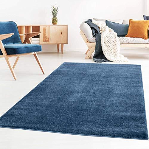 Taracarpet Kurzflor-Designer Uni Teppich extra weich fürs Wohnzimmer, Schlafzimmer, Esszimmer oder Kinderzimmer Gala dunkel-blau 060x090 cm