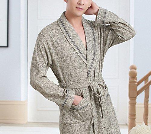 Preisvergleich Produktbild POKWAI Herbst Und Winter Neue Männer In Den Langen Pyjamas 100% Gestrickte Baumwollhaus Service Bademäntel,Grey-XXL