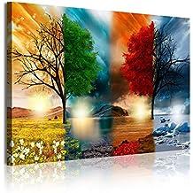 DekoArte Cuadro Moderno con Diseño Naturaleza Cuatro Estaciones, Tela, Multicolor, 120x3x80 cm