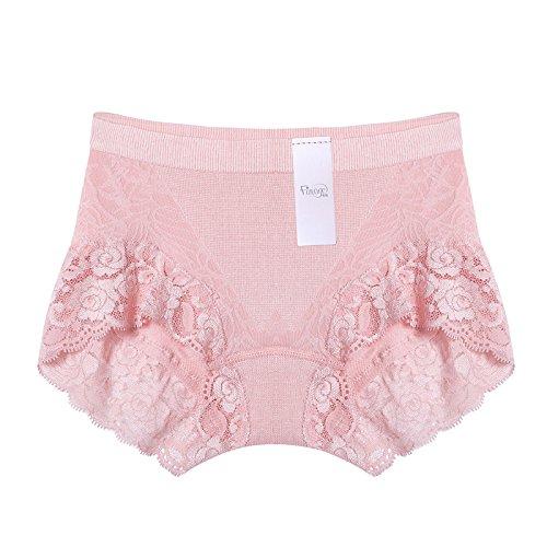 Unterhosen Unterwäsche Bambusfaser Mitte Taille Atmungsaktiv dünnes Sexy Spitze Dreieck Hosen Slips, schwarz, M Greatlpk Pink