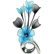 Diseño de flores de Mini 792831 32 cm hanega Artificial jarrón con diseño de espiral, azul/azul/negro