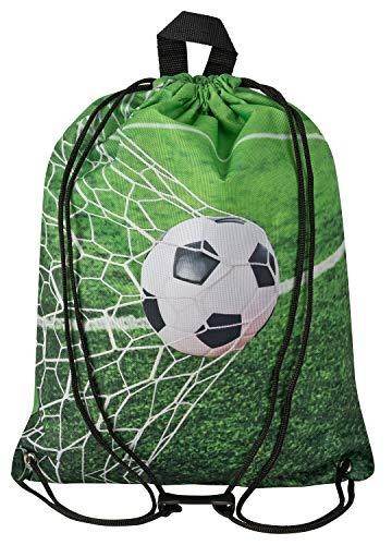 Aminata Kids - Kinder-Turnbeutel für Mädchen und Junge-n mit für Echt-e Sport Fan-Artikel Ecke-n Motiv verstärkt WM Fussball Sport-Tasche-n Gym-Bag Sport-Beutel-Tasche grün Weiss…