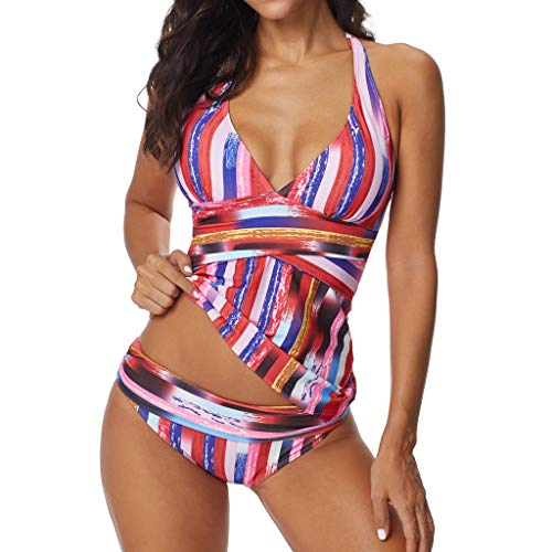 Damen Steifen Drucken Bademode SHOBDW Frauen Sommer Strand Schwimmbad Trendigen Elegant Halter Badeanzug Tanga Kombiniert Bikini Set Strandkleidung Tankini Badebekleidung