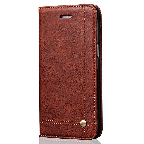 Handyhülle Leder Wallet mit Kreditkarte für iPhone 5 6 7 Samsung Galaxy S7 S8, for 5.5 inches (Samsung S7 Edge), Dunkelbraun