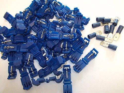 50x Blau Scotchlok Terminals Steckern Quick Splice Snap Click Stecker Tab Spaten Anschluss Crimp Draht mit 10gratis 15Amp Stecker Flachstecker 1,5mm–2,5mm (F) (Splice-anschluss)