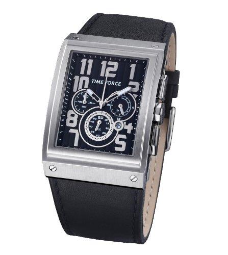 Time Force - TF3128M01 - Montre Homme - Quartz Analogique - Cadran Noir - Bracelet en Caoutchouc Noir