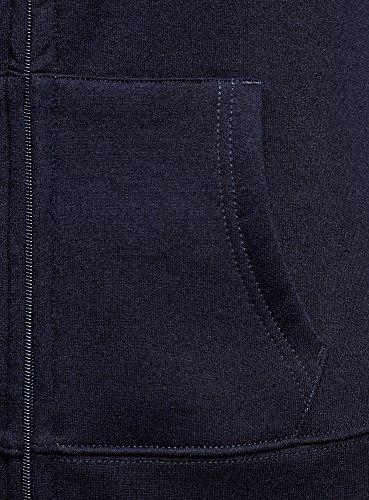 oodji Ultra Femme Sweat en Maille avec Imprimé Bleu (7910P)