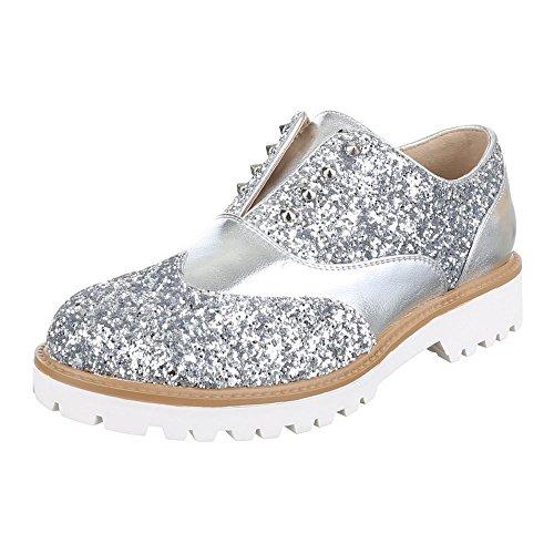 Ital-Design Slipper Damen Schuhe Low-Top Blockabsatz Moderne Halbschuhe Silber