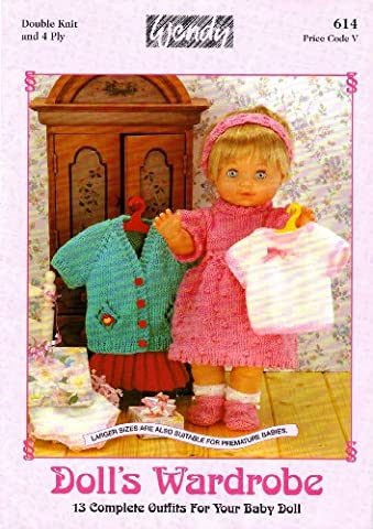 Wendy Doll's Wardrobe: Dolls Clothes Knitting Pattern Booklet: 13 Complete Outfits For Your Baby Doll: Pants, Vest, Dress, Coat, Shoes/Socks, Leggin, Bonnet, Cardigan, Skirt, All-in-One, Jacket, Dungarees, Sweater, Romper Suit, Hat, Nightdress,