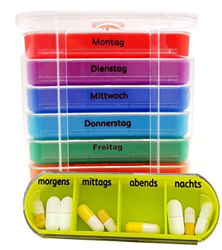 Pille Medikament Box (M&H-24 Tablettenbox Medikamentenbox Pillenbox für 7 Tage Transparent - Pillen-Tabletten-Dose Medikamentendispenser Wochendosierer Woche 4-Fächer Morgens Mittags Abends Nachts Transparent 1 Stück)